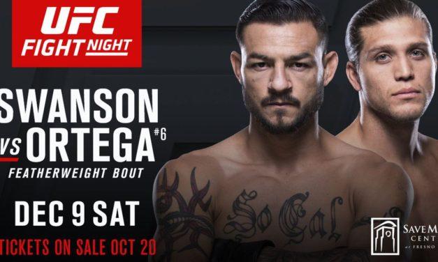 Pogledajte Fight Card za večerašnji UFC Fresno: Swanson vs Ortega
